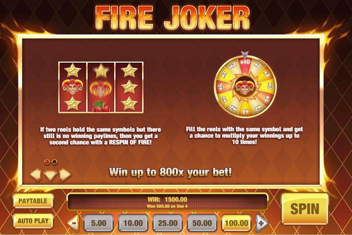 fire joker bonus features